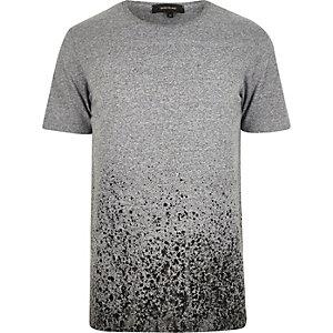 Grey faded paint splatter print t-shirt