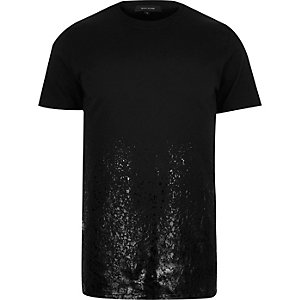 Black high shine print t-shirt
