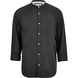 Charcoal linen-rich grandad collar shirt