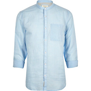Light blue linen-rich grandad collar shirt