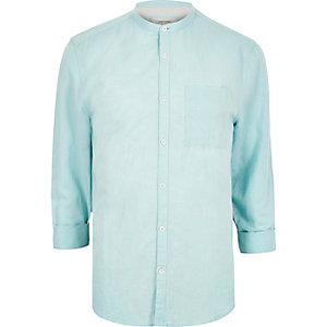 Mint green linen-rich grandad collar shirt