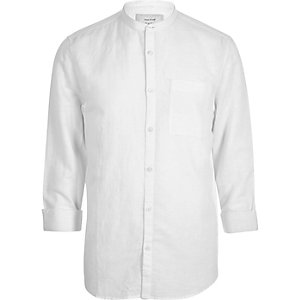 White linen-rich grandad collar shirt