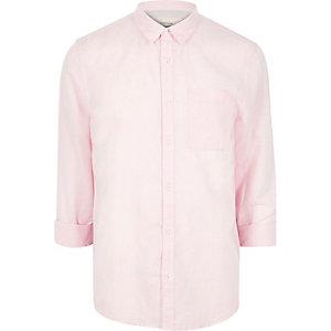 Light pink linen-rich shirt