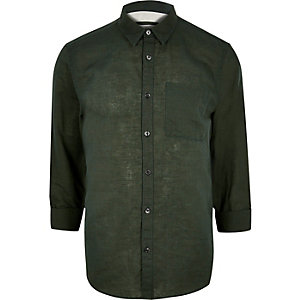 Dark green linen-rich shirt