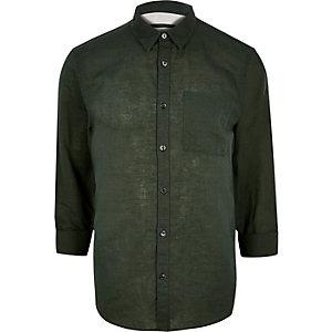 Dark green linen-rich shirt