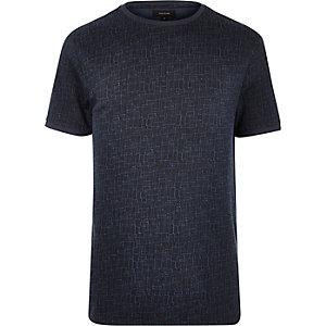Navy cotton jacquard t-shirt