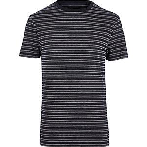 Navy crew neck jacquard short sleeve t-shirt
