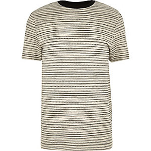 Ecru stripe jacquard crew neck t-shirt