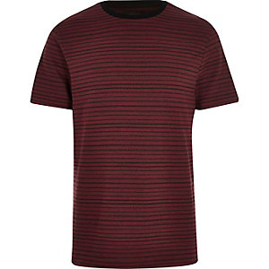 Dark red stripe print t-shirt