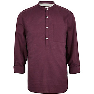Dark red linen-rich grandad collar shirt