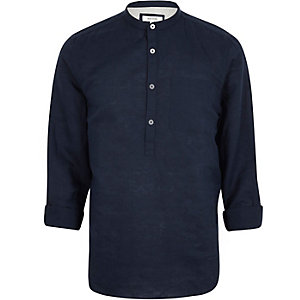 Navy linen-rich grandad collar shirt