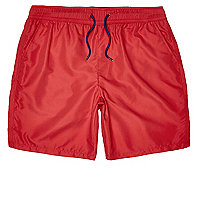 Red microfibre swim trunks