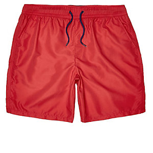 Red microfibre swim trunks