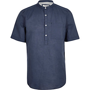 Blue linen-rich grandad collar shirt