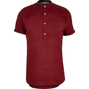 Red linen-rich grandad collar shirt