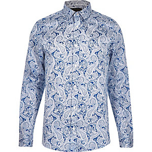 Blue paisley print slim fit shirt