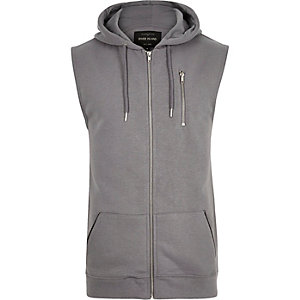 Grey zip-up sleeveless hoodie