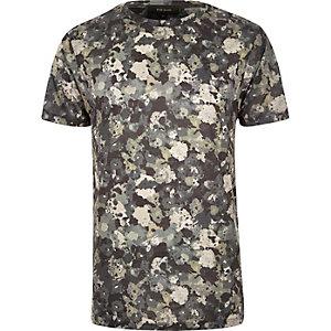 Grey camo floral print t-shirt