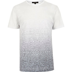 Grey faded tile print t-shirt