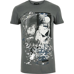 Grey skull foil print t-shirt