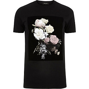 Black flocked floral print t-shirt