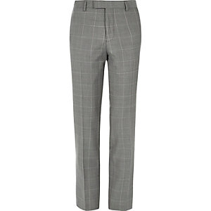 Grey checked slim suit pants