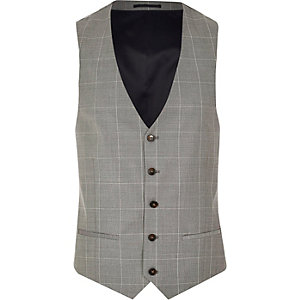 Grey wool-blend check vest