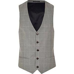 Grey wool-blend check vest