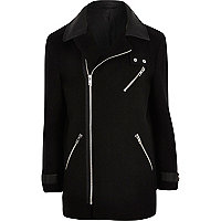 Black asymmetric zip jacket