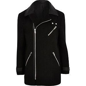 Black asymmetric zip jacket