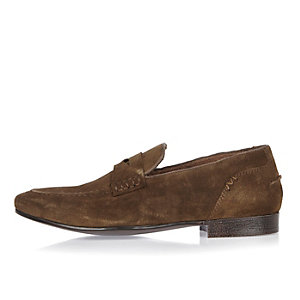 Brown suede saddle loafers