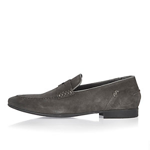 Grey suede saddle loafers