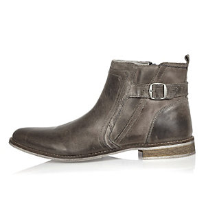 Grey leather strap Chelsea boots
