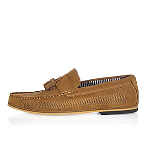 Medium brown suede woven tassel loafers