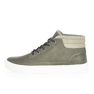 Grey lace-up hi tops