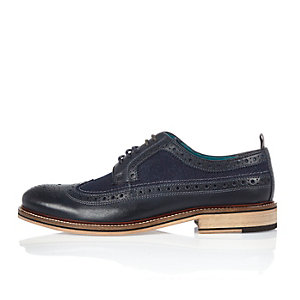 Navy leather and denim shoes