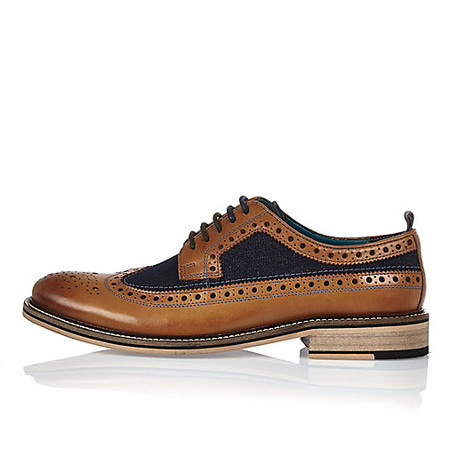 Brown leather and denim shoes