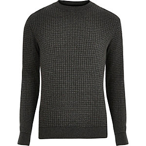 Dark grey ribbed knitted slim fit jumper