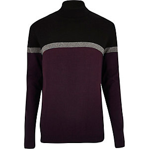 Dark purple block roll neck sweater