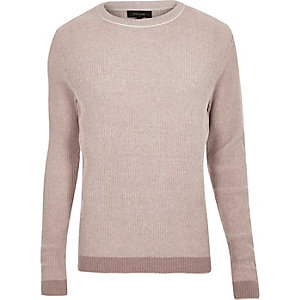 Light pink ribbed crew neck slim fit sweater