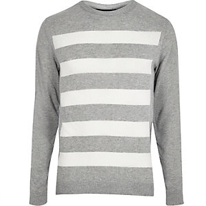 Light grey striped knitted jumper
