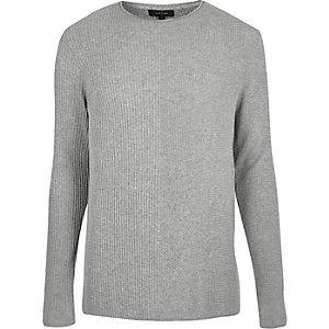 Light grey plain knitted jumper