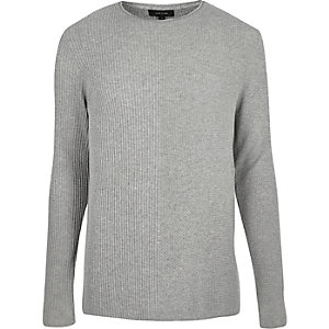 Light grey plain knitted sweater