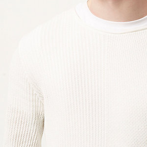 Ecru stitch block sweater