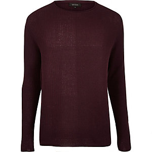 Dark red stitch block sweater