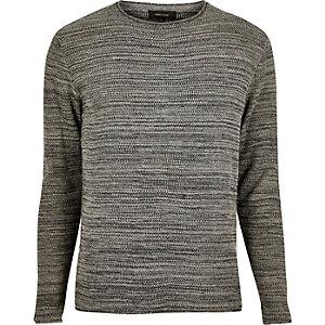 Dark grey knitted crew neck jumper