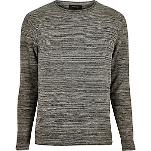Dark grey knitted crew neck sweater