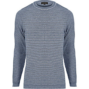 Navy ribbed crew neck sweater