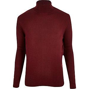 Dark red roll neck jumper