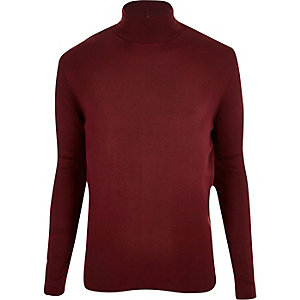 Dark red roll neck sweater